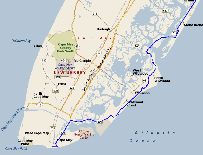 East Coast Maps Carolina Beach Location Cape May